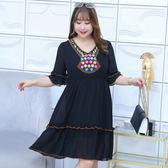 中大尺碼~波西米亞風格刺繡短袖連衣裙(XL~4XL)