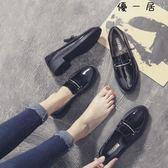 好康618 英倫風小皮鞋女鞋中跟單鞋