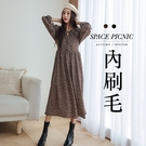 長袖 洋裝 Space Picnic|現+預.水手領不規則點點內刷毛洋裝【C20114008】