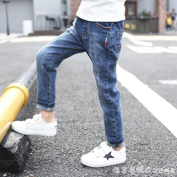 男童牛仔褲加絨加厚兒童長褲2021新款中大童男孩洋氣春秋冬款褲子 美眉新品