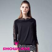 【SHOWCASE】甜美蕾絲袖船型領雪紡上衣(黑/白)