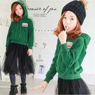 *╮小衣衫S13╭*中大童韓系綠色加絨連帽上衣 1060807