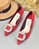 水鑚女鞋紅色高跟鞋新娘鞋結婚鞋子尖頭低跟鞋女細跟3公分