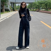 背帶褲女減齡氣質寬鬆直筒高腰大口袋連體褲牛仔長褲【橘社小鎮】