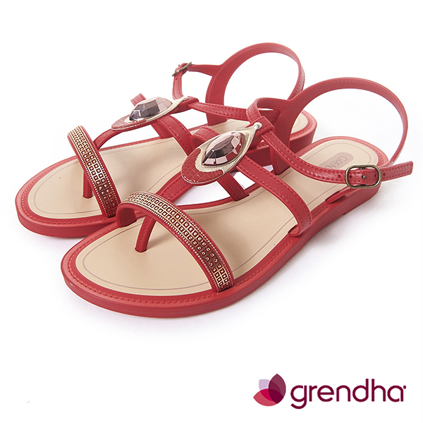 GRENDHA 華麗寶石金艷平底涼鞋-紅色