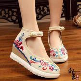 復古民族風布鞋女漢服鞋子時尚百搭內增高坡跟盤扣單鞋