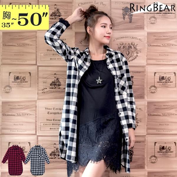 質感襯衫--經典品味百搭款休閒後打摺前口袋中長款格紋襯衫/外套(黑.紅XL-5L)-I168眼圈熊中大尺碼