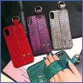 蘋果 iPhone XS MAX XR iPhoneX i8 Plus i7 Plus 鱷魚紋手腕帶 手機殼 半包 硬殼 保護殼