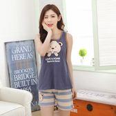 夏季韓版女士睡衣純棉背心短褲卡通款休閑大碼家居服兩件套裝無袖