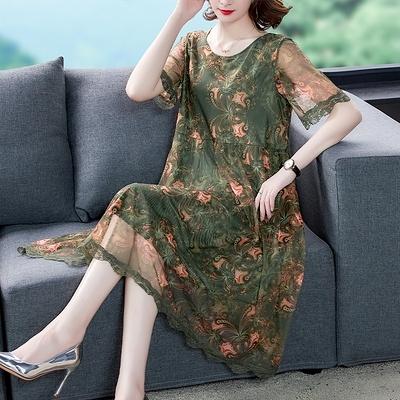 L5XL胖妹妹大碼洋裝連身裙~200斤大碼連身裙女印花短袖遮肚子顯瘦網紗中長裙T540A衣時尚