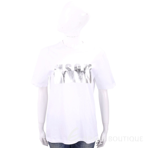 MSGM 燙銀經典字母白色棉質T恤 1820442-20