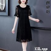 蕾絲洋裝-闊太太典雅時尚蕾絲洋裝2021夏季新款黑色寬鬆腰遮肚顯瘦中長裙