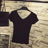 【全館】82折夏季白色t恤女短袖冰絲針織衫修身顯瘦純色百搭短款打底衫V領上衣中秋佳節
