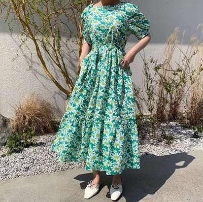 日系洋裝~長版長裙~法式甜美印花寬松連身裙#6977N515愛尚布衣