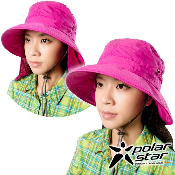 PolarStar 抗UV遮頸帽『暗桃紅』P16505 抗UV帽│登山帽│工作帽│遮陽帽│釣魚帽│防曬帽│圓盤帽