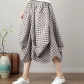 初心 原創設計燈籠裙 【S3129】 棉麻 大方格 口袋 花苞 長裙 縮緊 不規則 燈籠裙