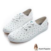 Hush Puppies 快樂泡泡咖啡紗帆布鞋-白泡泡