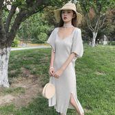 [超豐國際]夏裝度假沙灘長裙不規則吊帶裙珍珠披肩兩件套連衣裙1入
