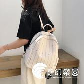 後背包  超火的雙肩包女新款韓版時尚簡約百搭軟皮質大容量鉚釘背包-奇幻樂園