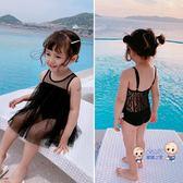 泳衣 【送泳帽】女童連身泳衣2019夏寶寶公主時尚洋氣蕾絲吊帶背心泳衣 2色