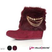 短靴 vellemoven 保暖時尚短靴 隱藏增高 腿部線條直線而 上 優質紅