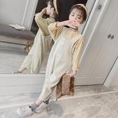 女童吊帶褲春秋新款洋氣時尚韓版寬鬆條紋T恤兩件套網紅大童套裝 童趣
