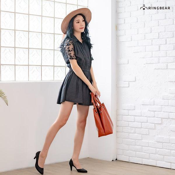 洋裝--清新風情縷空蕾絲繡花網紗拼接排釦鬆緊收腰單寧洋裝(黑.藍XL-5L)-D405眼圈熊中大尺碼◎