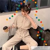 春裝韓版2020新款工裝風寬鬆收腰POLO領氣質休閒連衣褲女長褲  中秋特惠