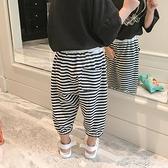 男童夏裝褲2021夏季裝新款兒童寬鬆運動條紋褲子寶寶休閒七分褲潮 中秋節限時好禮