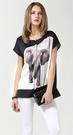 小中大尺碼圓領雪紡印花T恤棉長版寬鬆上衣  黑色 XL # sn3631 ❤卡樂store❤