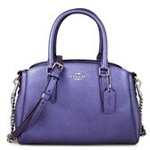 COACH 銀馬車Logo珠光皮革鏈帶三層包 兩用包 手提包 肩背包 斜背包(長春花紫色、小款)-29665