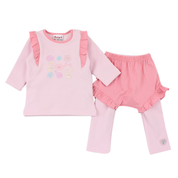 【愛的世界】保暖刷毛彈性套裝/6個月~4歲-中國製- ★秋冬套裝