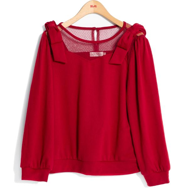 秋冬7折[H2O]點點網紗拼接針織布肩上蝴蝶結裝飾上衣 - 紅/藍/白色 #9631013