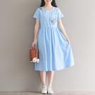 森女系洋裝 夏季新款森女繡花圓領短袖中長款繫帶棉麻連身裙收腰-Ballet朵朵