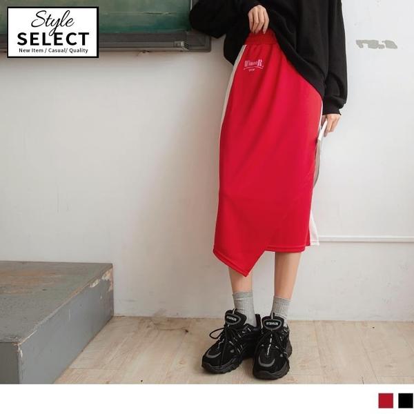 《KG0992》台灣製造.撞色拼接腰鬆緊下襬不對稱中長裙 OrangeBear