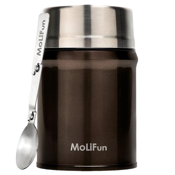 MoliFun魔力坊 316不鏽鋼輕量真空保鮮保溫悶燒罐/悶燒杯800ml-摩卡咖(MF0800K)