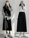 黑色半身裙女夏長裙2021春款新款顯瘦遮胯高腰開叉包臀a字短裙子