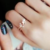 戒指 925純銀 鑲鑽-可愛蝴蝶生日情人節禮物女開口戒2色73dv7[時尚巴黎]