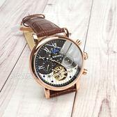 KINYUED 國王鏤空機械錶 太陽月亮 羅馬陀飛輪真皮男錶 玫瑰金x咖啡 防水手錶 K0231玫黑咖