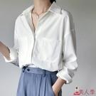 襯衫 2020春夏新款長袖雪紡白色女職業寬鬆休閑百搭設計感小眾襯衣【8折搶購】