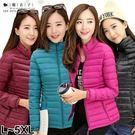【QV9136】魔衣子-輕薄保暖羽絨短款棉襖外套