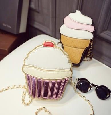 【01308】 夏季可愛冰淇淋 杯子蛋糕 單肩 斜肩鏈條包《FM-AJ3018》