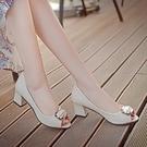 低跟鞋四季中跟單鞋女春夏魚嘴女鞋子粗跟方扣職業工作涼鞋低跟百搭韓版 麗人印象 全館免運