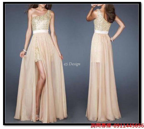 (45 Design) 訂做款式7天到貨 香檳色抹胸前短後長款晚宴宴會年會車展夜店演出婚紗小禮服