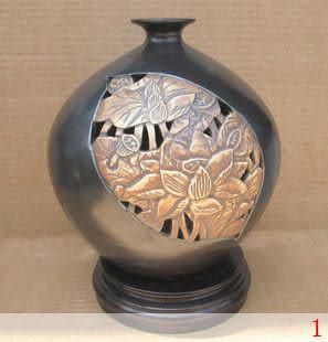 高溫手工雕刻 鏤空立體花紋 亞光釉瓷器 陶瓷