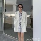 西裝外套 秋季氣質白色西裝外套女秋裝2020年新款韓版寬鬆夏薄款小西服上衣 coco