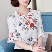 中年女裝夏裝短袖T恤女大碼寬鬆碎花雪紡打底衫30-40歲媽媽上衣服 【Korea時尚記】