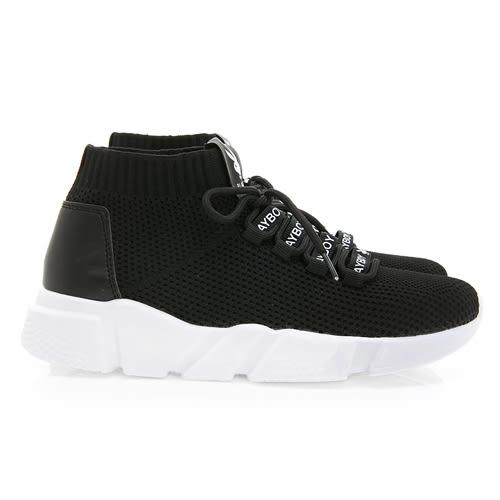 PLAYBOY 個性世代 彈力輕量襪套休閒鞋-黑