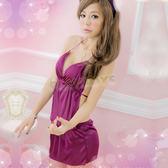 性感睡衣 嫵媚夢幻柔緞睡襯衣(紫)-玩伴網【隱密包裝】