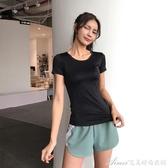 修身顯瘦瑜伽服女緊身訓練排汗速干衣跑步運動T恤網紅健身短袖夏N快速出貨